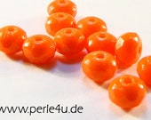3x5mm Czech Faceted Glass Bead - Donut/Rondelle - orange opaque