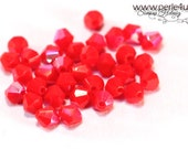 4mm Czech Faceted Crystal Bead - Bicone - red opaque AB | 4b/8119