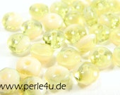 2x3mm Czech Faceted Glass Bead - Donut/Rondelle - green mix
