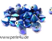 4mm Czech Faceted Crystal Bead - Bicone - jet AB 2x