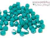 4mm Czech Faceted Crystal Bead - Bicone - turquoise opaque | 4b/3149
