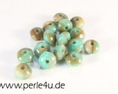 3x5mm Czech Faceted Glass Bead - Donut/Rondelle - turquoise picasso