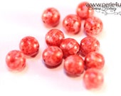 6 mm Czech Pressed Glass Bead -round- pink marble
