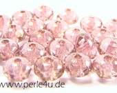 3x5mm Czech Faceted Glass Bead - Donut/Rondelle - crystal light topaz pink luster