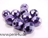 8 mm Czech Faceted Glass Bead -round- lilac wax- 8/7040