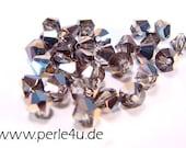 4mm Czech Faceted Crystal Bead - Bicone - black diamond sky blue