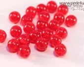 6 mm Czech Pressed Glass Bead -round- ruby crackle