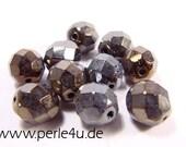 8 mm Czech Faceted Glass Bead -round- jet iris 8/5003