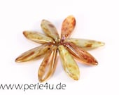 5x16 mm Dagger-Bead - green opal picasso (5x16/2096)