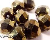 8 mm Czech Faceted Glass Bead -round- metallic green 8/2075