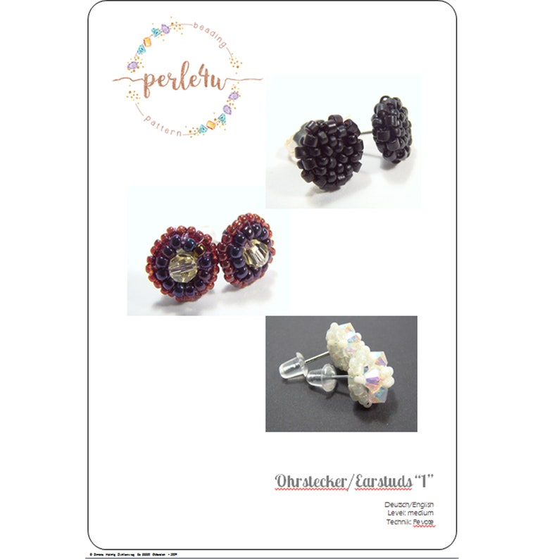Beading pattern Earstuds 1  Ohrstecker 1 image 0