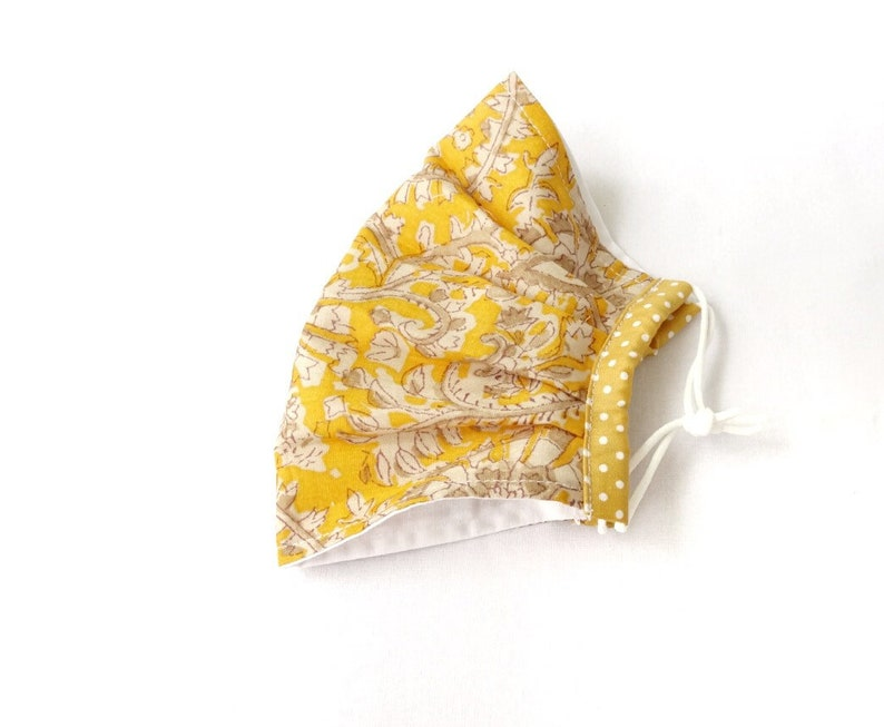 Yellow Floral Pleated Non Surgical Face Mask 2 Layer Cotton image 1