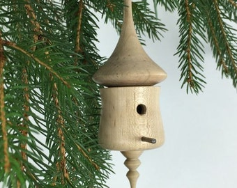 Birdhouse Christmas Ornament, wood Christmas tree ornament handmade from maple - XO017-8