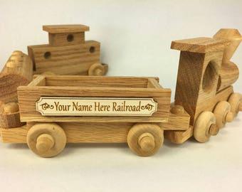 Wood Train  - Handmade wood toy, personalized - TT015