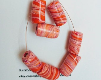 Orange Melon And Peach Tube Beads Set Of 7