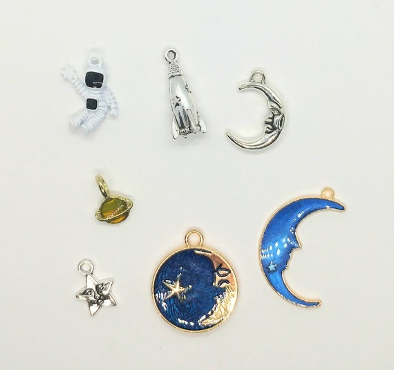 Moon and Stars Charms Key Chain Purse Handbag Clip Rocket Astronaut Saturn Blue