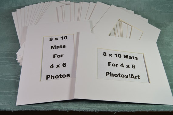 8 X 10 Photo Mats For 4 X 6 Photos 20 Off White Mats Etsy