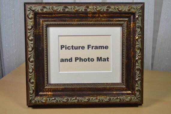 Picture Frame 4x5 Ornate Acid Wash Walnut Wood Photo Etsy