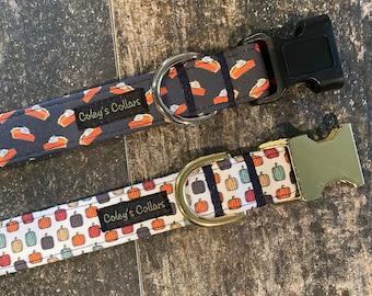 """Dog Collar, Dog Collar Girl, Dog Collar Boy, Autumn Dog Collar, Fall Dog Collar, Pumpkin Dog Collar, Halloween Dog Collar, """"Thankful"""""""