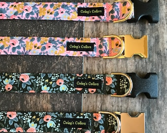 """Dog Collar, Rifle Paper Co Dog Collar, Dog Collars, Floral Dog Collar, Girl Dog Collar, Boy Dog Collar, """"The Rosa in Pink or Forest"""""""