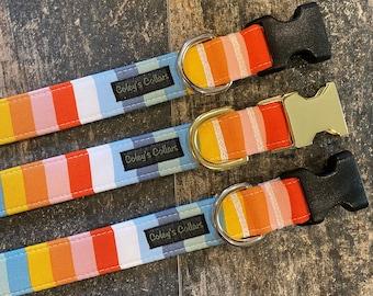 """Dog Collar, Autumn Dog Collar, Fall Dog Collar, Dog Collar Girl, Dog Collar Boy, Striped Dog Collar """"The Autumn Stripe"""""""