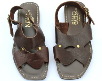 cb6033deea850c Vintage Kino Dark Brown Gold Soft Leather Strappy Sandals Shoes Sz 9