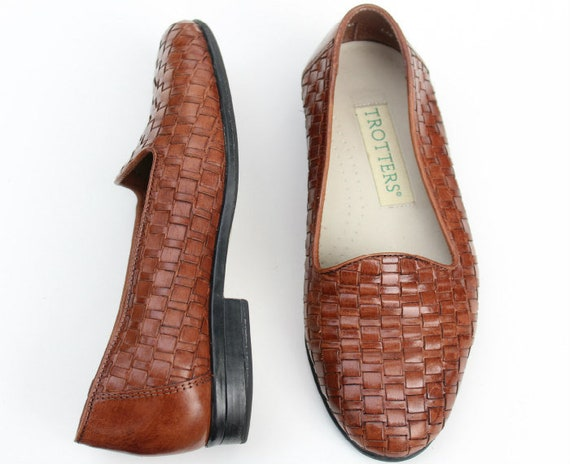 Vintage Trotters Brown Leather Weave Casual Flats Shoes Sz 6