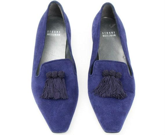Vintage robe classique de Stuart Weitzman Dark prune/Navy Blue Suede Suede Suede Tassel chaussures Sz 8 | Paquet Solide Et élégant  11ac58