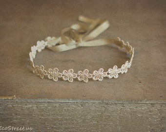 Baby Headband Baby Crown Cream Lace and Pearl Crown Baptism  8b59727bd6e