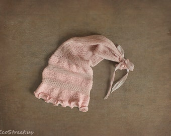 Baby Hat, Baby Girl Hat, Beanie, Blush Pink Hat, Lace Knit Hat, Newborn Hat, Baby Props, Newborn Props, Baby Props, Wizard Hat, RTS