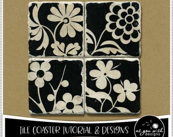 Tutorial and Designs for Tumbled Marble Tile Coasters PDF Pattern Digital Download