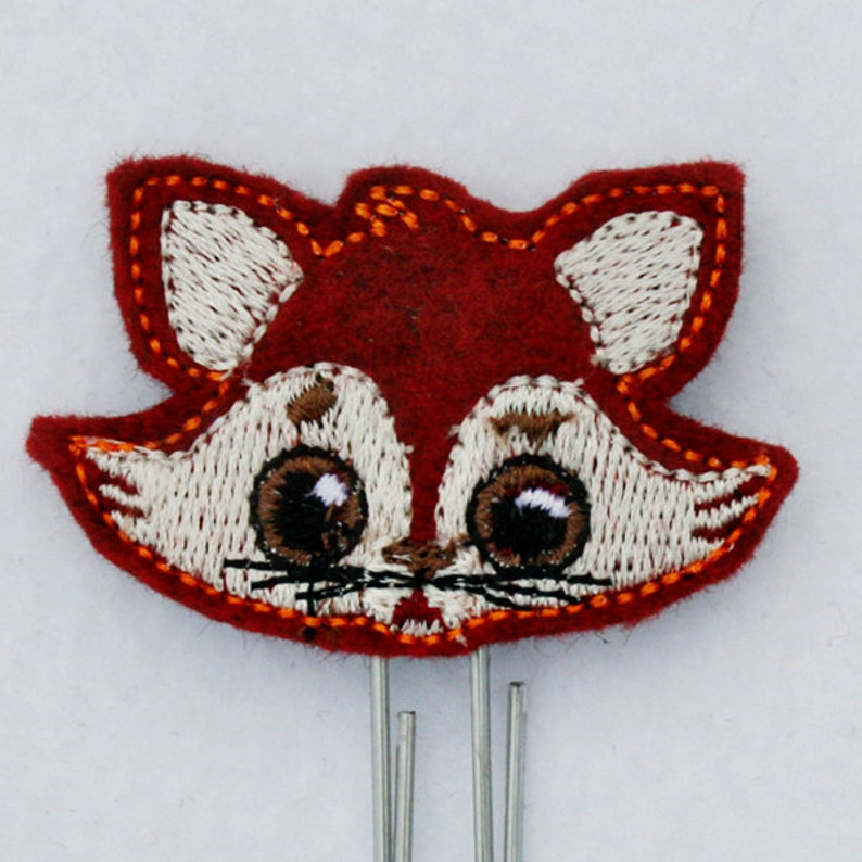 Red Fox Felt Embroidered Planner Clip Paper Clip or Magnet Felties