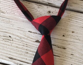 deb2c3275916 Boys Buffalo Plaid Tie, Boys Buffalo Check Tie, Boys Red and Black Check  Necktie, Boys Christmas Tie, Boys Holiday Tie, Baby Tie Photo Prop