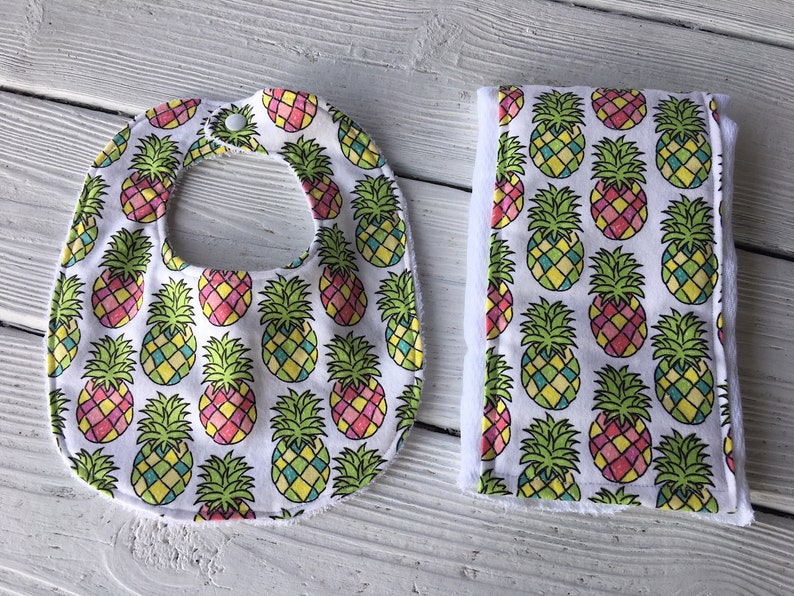 c6639749f2d3 Flannel Pineapple Baby Bib and Burp Cloth Baby Gift Baby