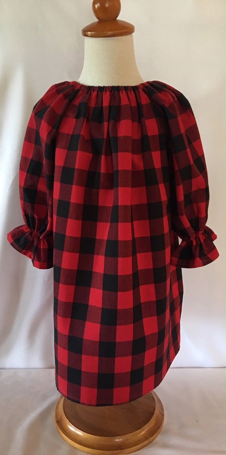 afab2c485496 Girls Buffalo Plaid Christmas Dress Red and Black Holiday | Etsy