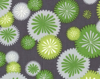 Graphite(Gray or Steel) and Lime Floral Print from the Simply Color Collection, by Moda