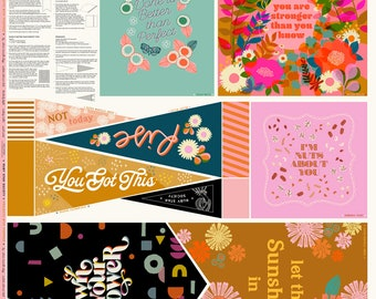Pep Talk Panel, Projects with Purpose, Moda Panel, Ruby Star Society, Inspirational Sayings Panel, Banner Panel, Pillow Panel