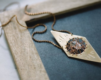 Crystal Cavern Necklace | Handcrafted Brass Tibetan Quartz Pendant | OUT OF STOCK