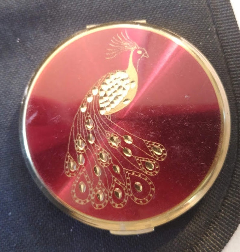 Vintage Stratton England Compact Red and Gold Hand Engraved Peacock