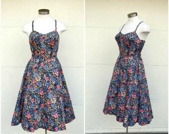 6f73663e91 Vintage 1960s Floral Sundress Full Rockabilly Skirt
