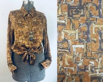 2d72ebce4ff09 Escada Silk Blouse    Vintage 1980s Letter E Designer Shirt
