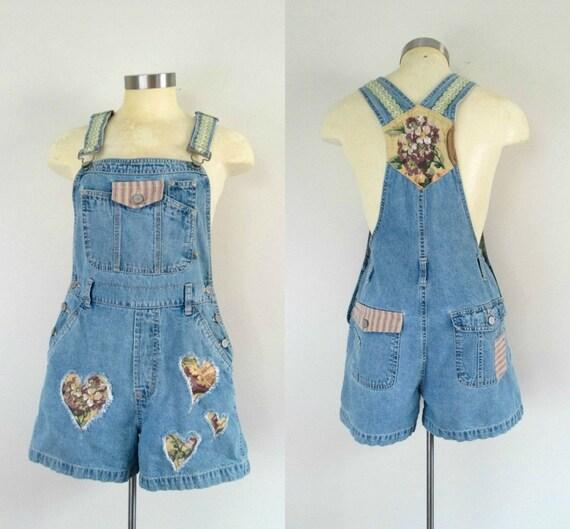 Denim Shorts Overalls Redesign Vintage 1980 Size S