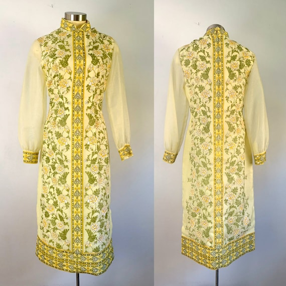 1970s Alfred Shaheen Yellow Floral Print Dress