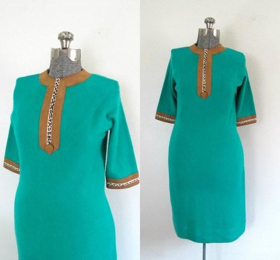 Green Cashmere Sweater Dress Suede Pony Fur Trim V