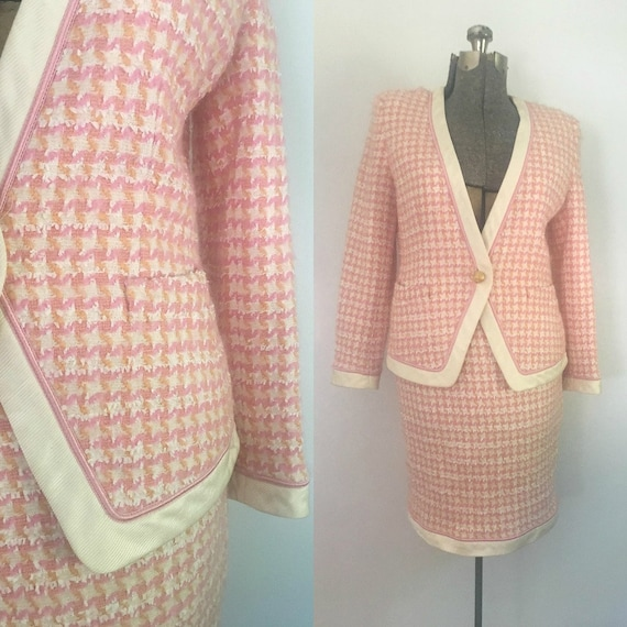 1980s Escada Pink Houndstooth Plaid Suit