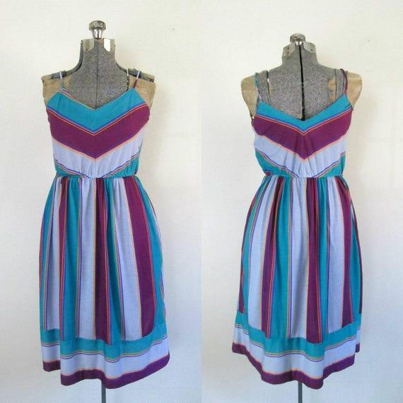 Striped Summer Sundress // Vintage 1970s Chevron S