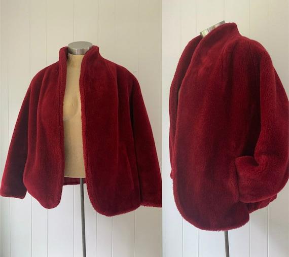 Burgundy Faux Fur Jacket Vintage 1950s O'llegro