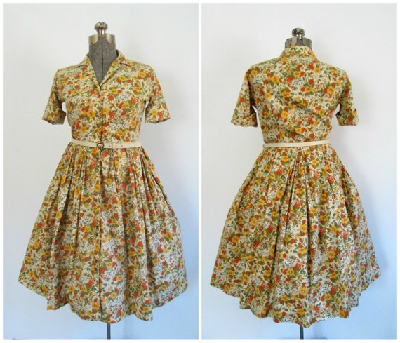 Mid Century Rockabilly Dress Floral Print Lady Arr