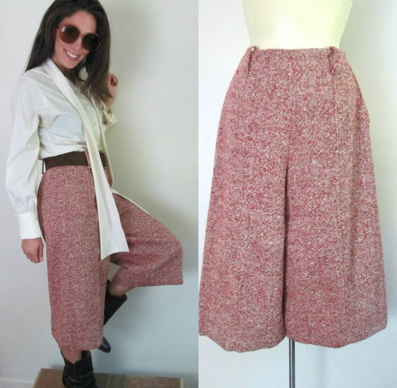 1970s Vintage Gaucho Pants // Fully Lined Wool Twe