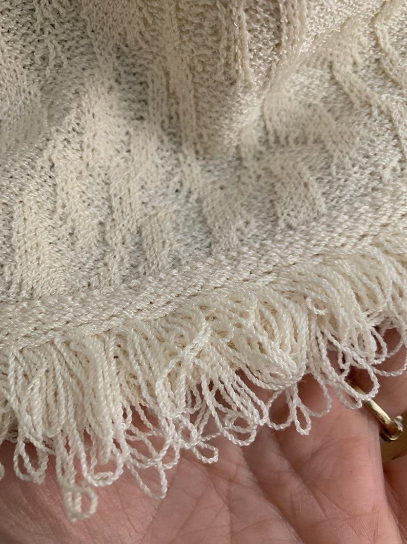 John Off White Fringed Knit Jacket Size 16 Plus Size Removable Shoulder Pads St